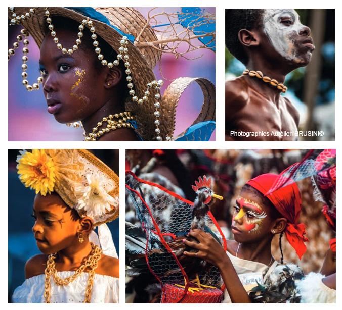 Enfants déguisés pour le carnaval aux Antilles