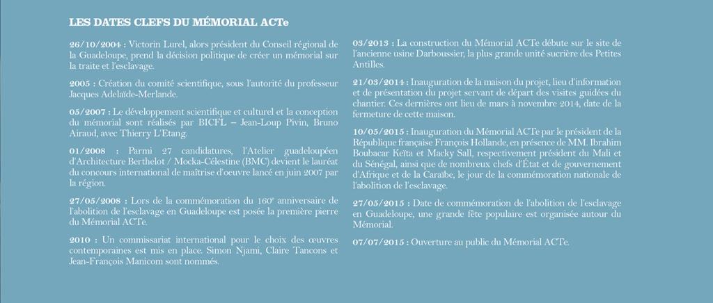 Memorial acte : dates