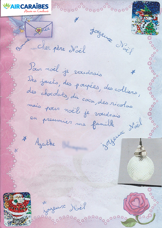 La plus belle lettre au p re no l avec air cara bes for Au pere du meuble
